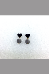 KOREA STYLE EARRING BLACK HEART WITH GREY BALL