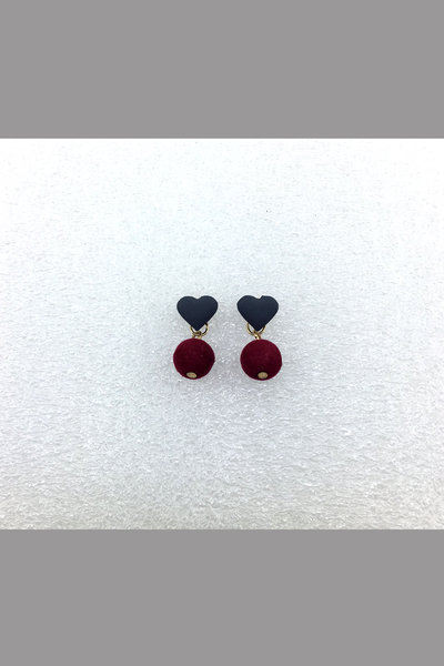 KOREA STYLE EARRING BLACK HEART WITH RED BALL