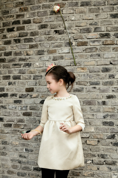 JACQUARD DRESS WITH HANDMADE FRENCH KNOT EMBR AT NECKLINE