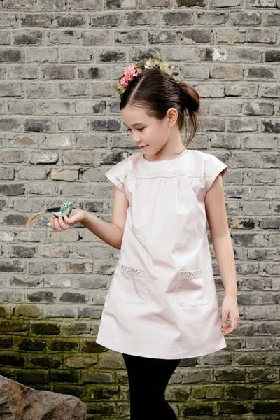 SHORT SLEEVE DRESS WITH EMBR