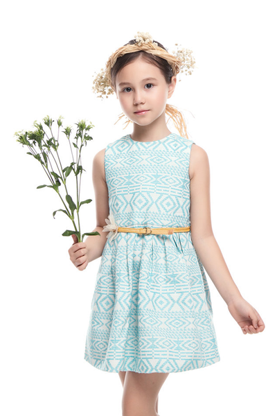 SLEEVELESS JACQUARD DRESS (FREE 1FANCY BELT)