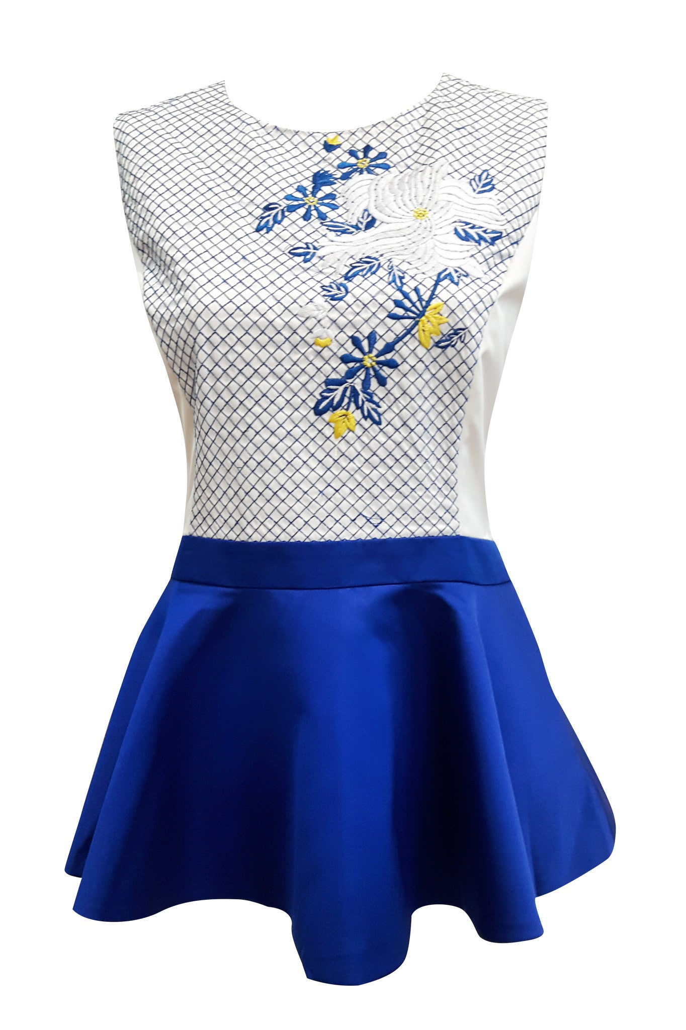 Adult-Floral Embroidery Peplum Top