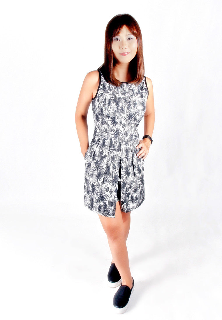 Adult- Black & White Tropical Print Romper