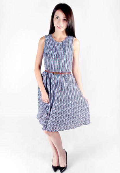 Adult-Printed Colour Fit And Flare Dress