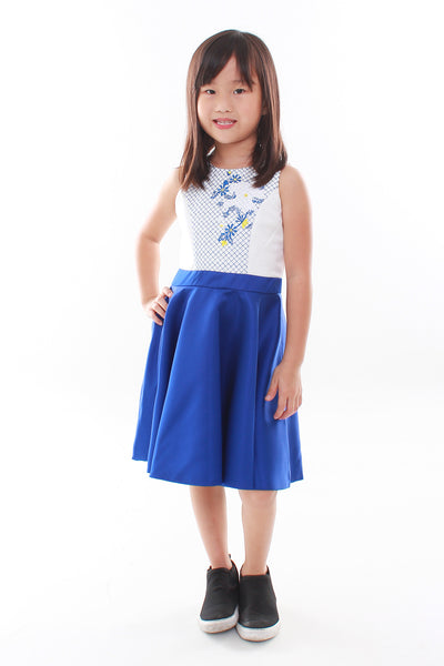 Kids- Floral Embroidery Peplum Mini Dress
