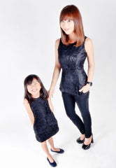 Adult-Black Floral Lace Peplum Top