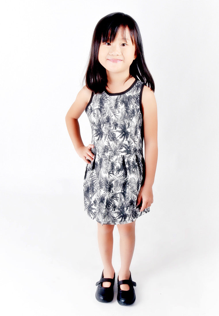 Kids-Black & White Tropical Print Romper (Sample Piece)