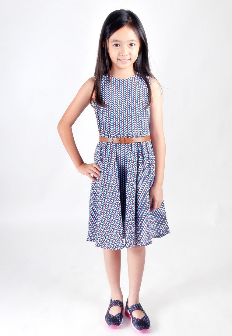 Kids-Printed Colour Fit And Flare Dress
