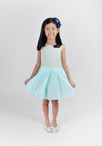 Kid-Mint Lace Mini Flare Dress