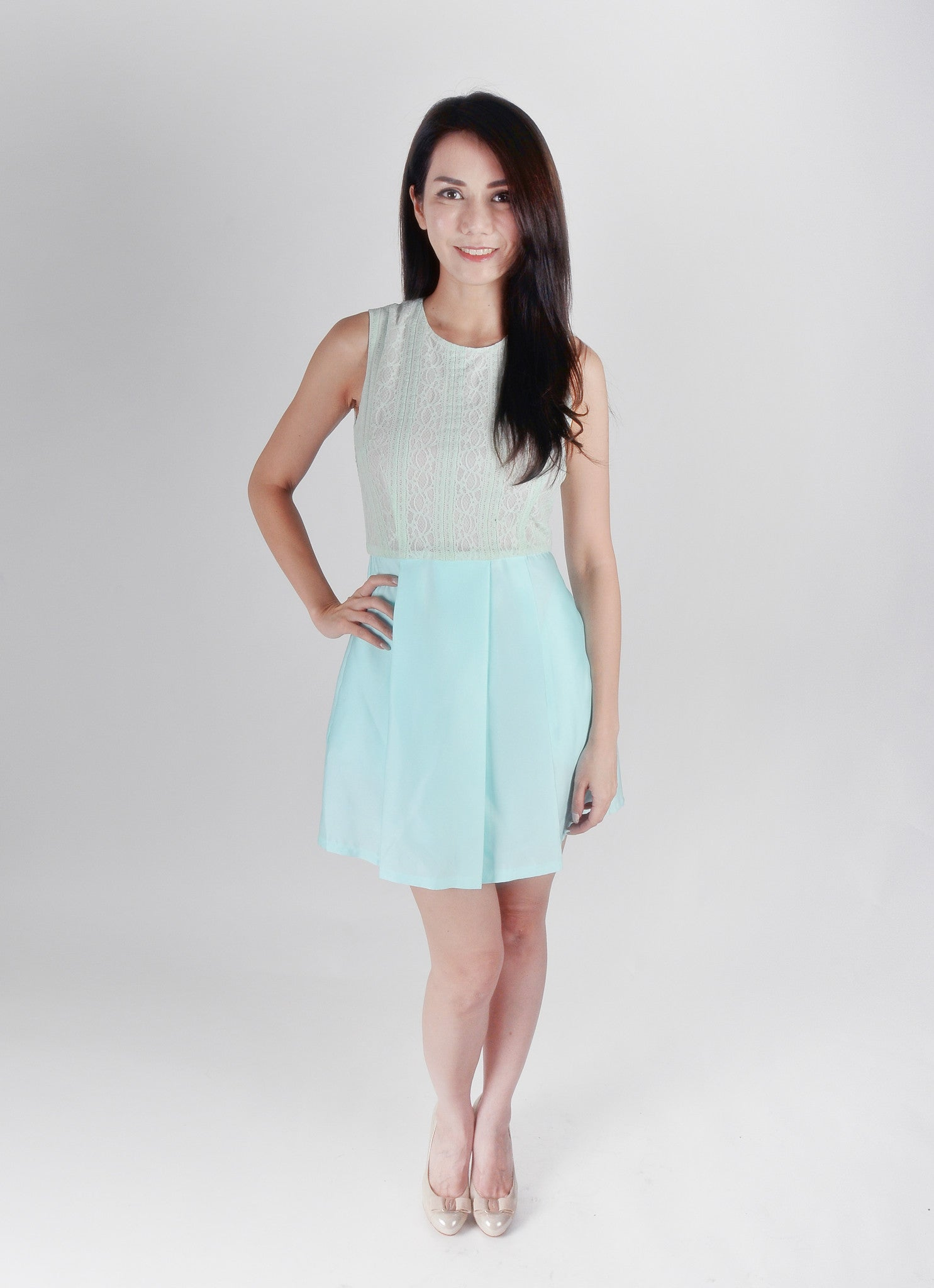 Adult-Mint Lace Flare Dress