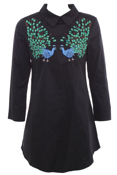 Peacock Embroidered Longline Shirt