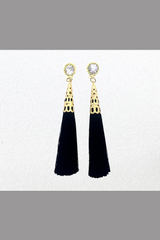 Ethnic Women Crystal Circular Tassel Rhinestone Earrings (black)