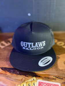Outlaws Trucker Hat - Black/Black- Text Logo