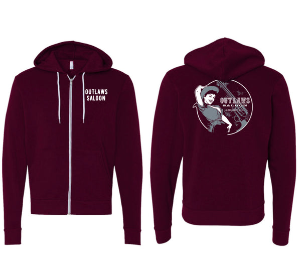 Outlaws Cowgirl - Maroon- Zip-up Hoodie