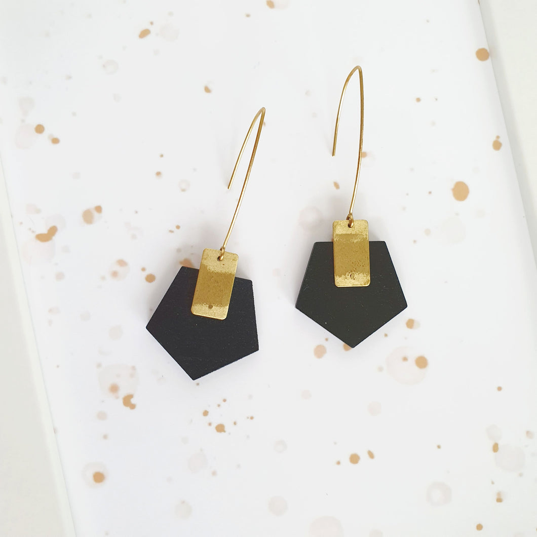 Black Pentagon Dangle Earrings