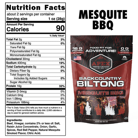 Mesquite BBQ Biltong Nutritional Facts