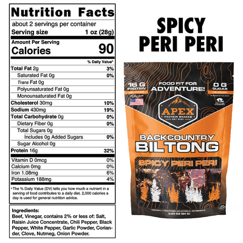 Spicy Peri Peri Biltong Nutritional Facts