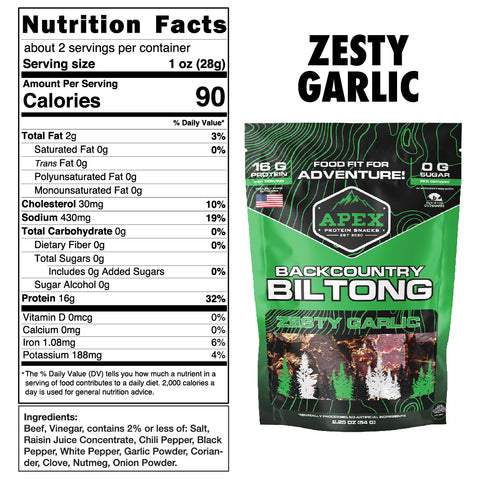 Zesty Garlic Biltong Nutritional Facts