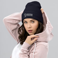 Load image into Gallery viewer, DDX3X Cuffed Beanie - White Embroidery