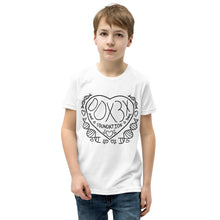 Load image into Gallery viewer, Youth Short Sleeve T-Shirt - Black Print Heart Design