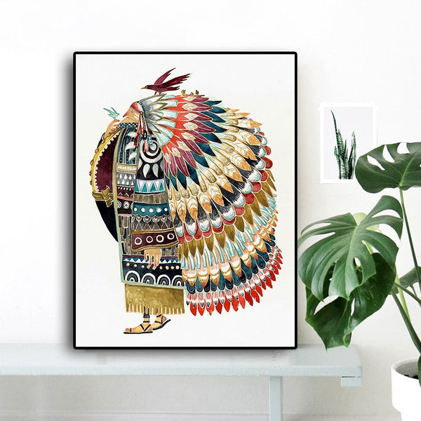 Watercolor Indian with Feathered Bird Native Posters and Prints Scandinavian Nursery Baby Nordic Style Kids Decoration