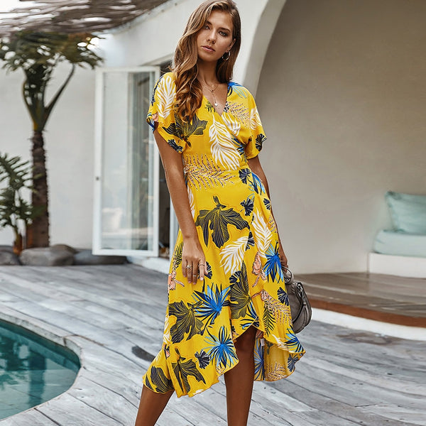 Floral Beach Vibes Wrap Dress