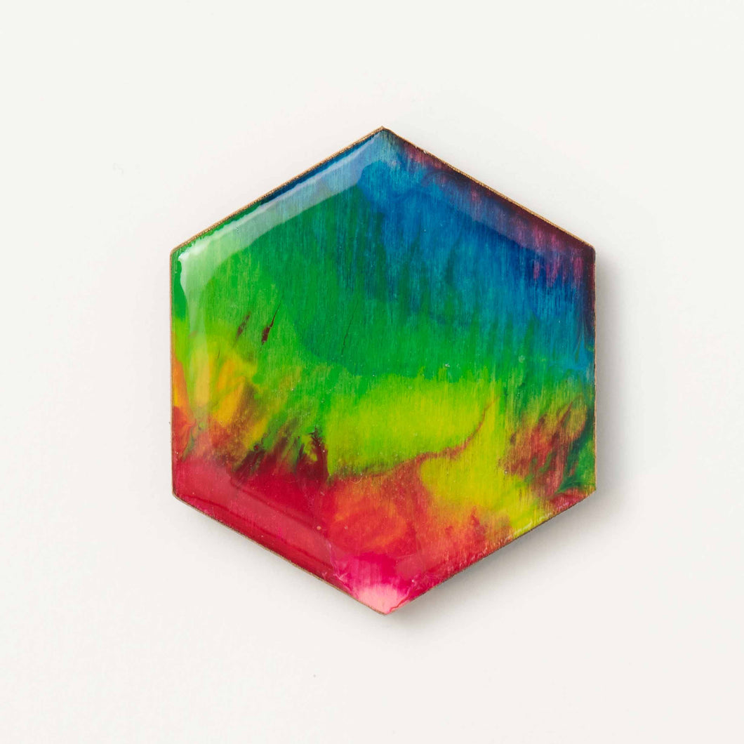Large Rainbow Hexagon Magnet 1110
