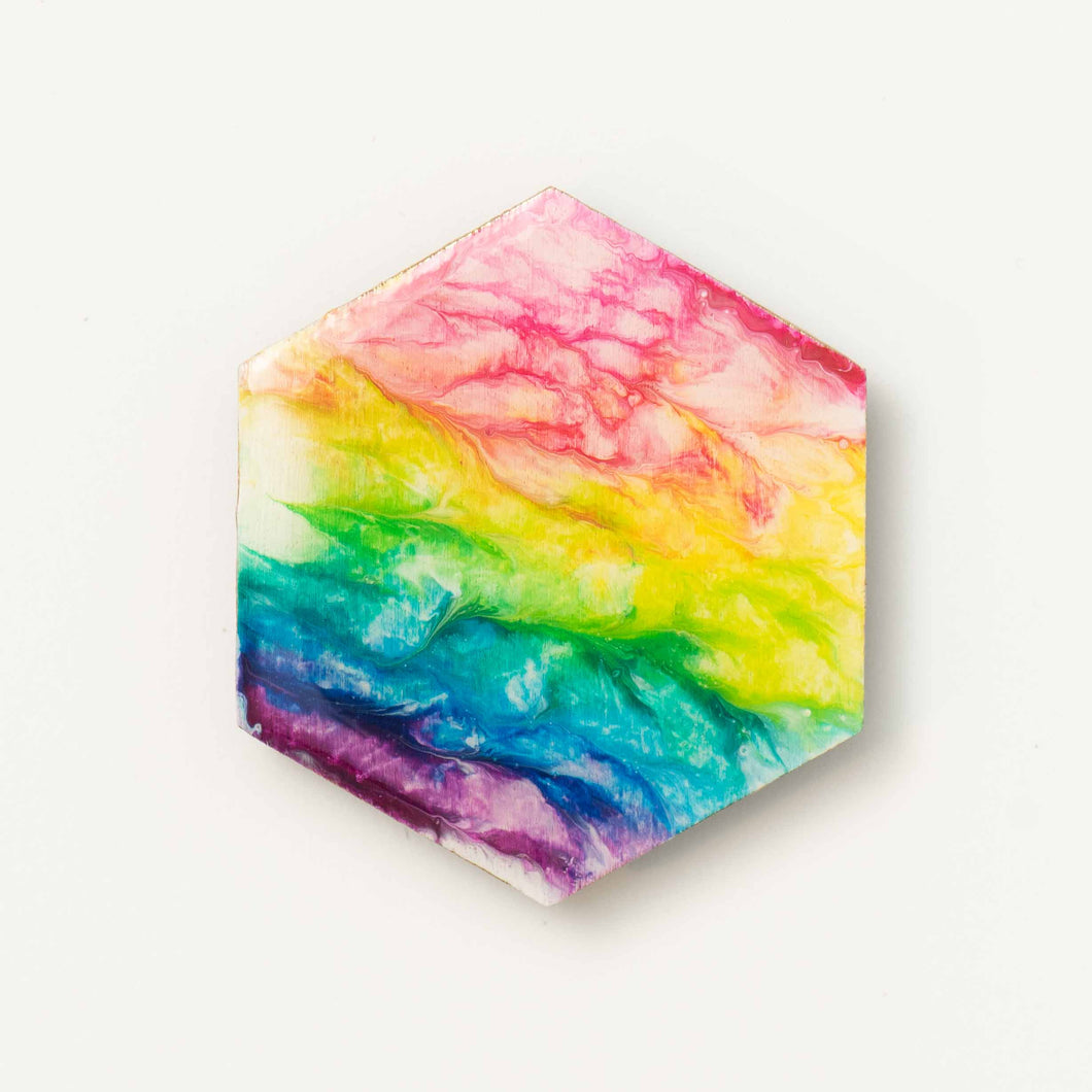 Large Hexagon Rainbow Magnet 1113