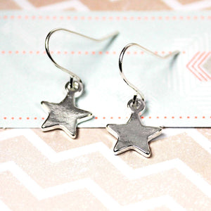 Silver Plated Star Drop Earrings - The Tulip Tree Chiddingstone