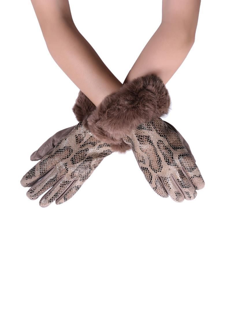 Faux Fur Trim & Snakeskin Print Touchscreen Gloves Beige - The Tulip Tree Chiddingstone
