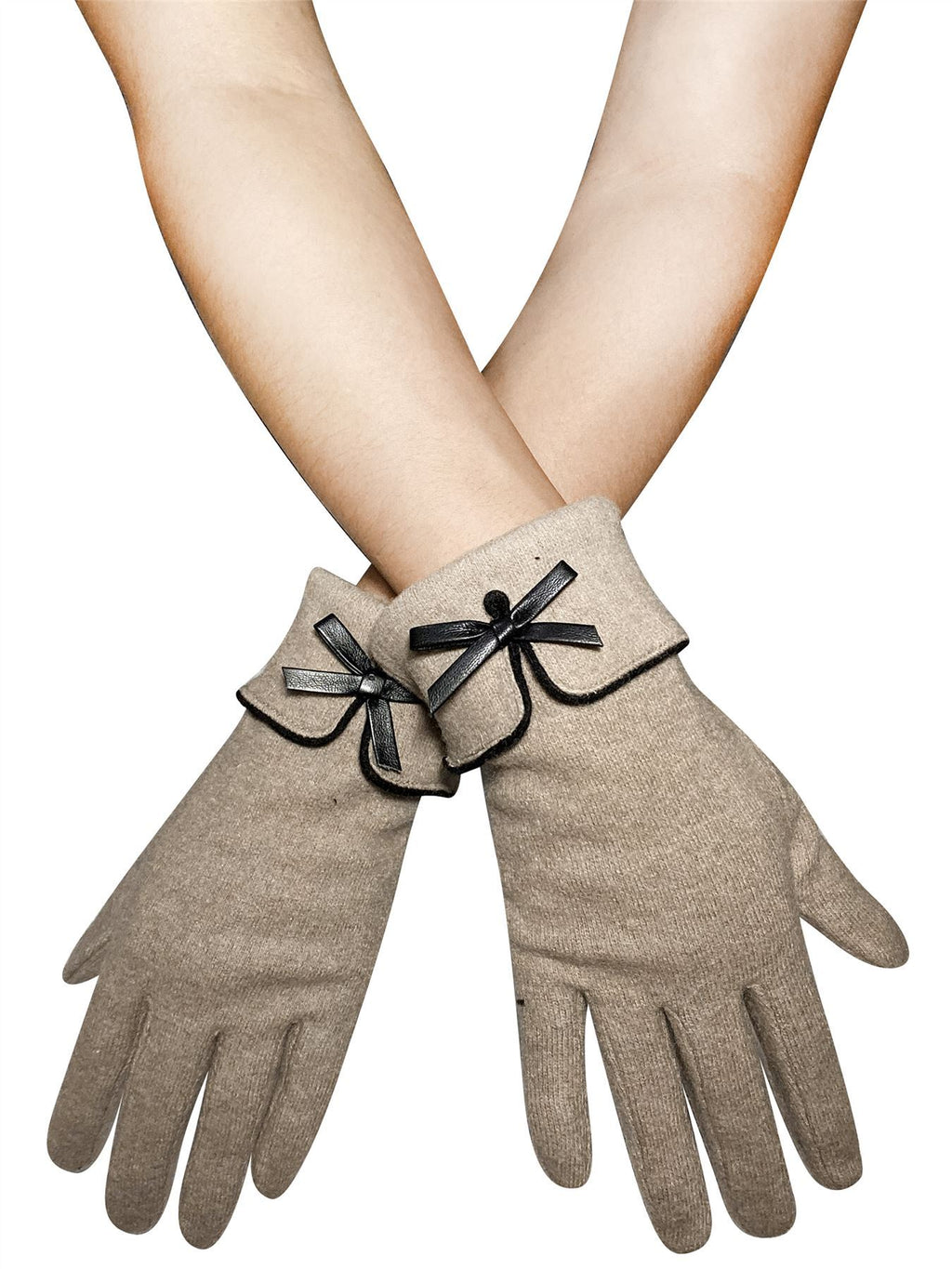 Preppy Style Bow Touchscreen Gloves Beige - The Tulip Tree Chiddingstone