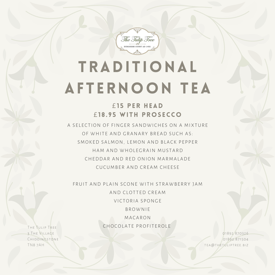 The Tulip Tree Afternoon Tea for Two with Prosecco Gift Card