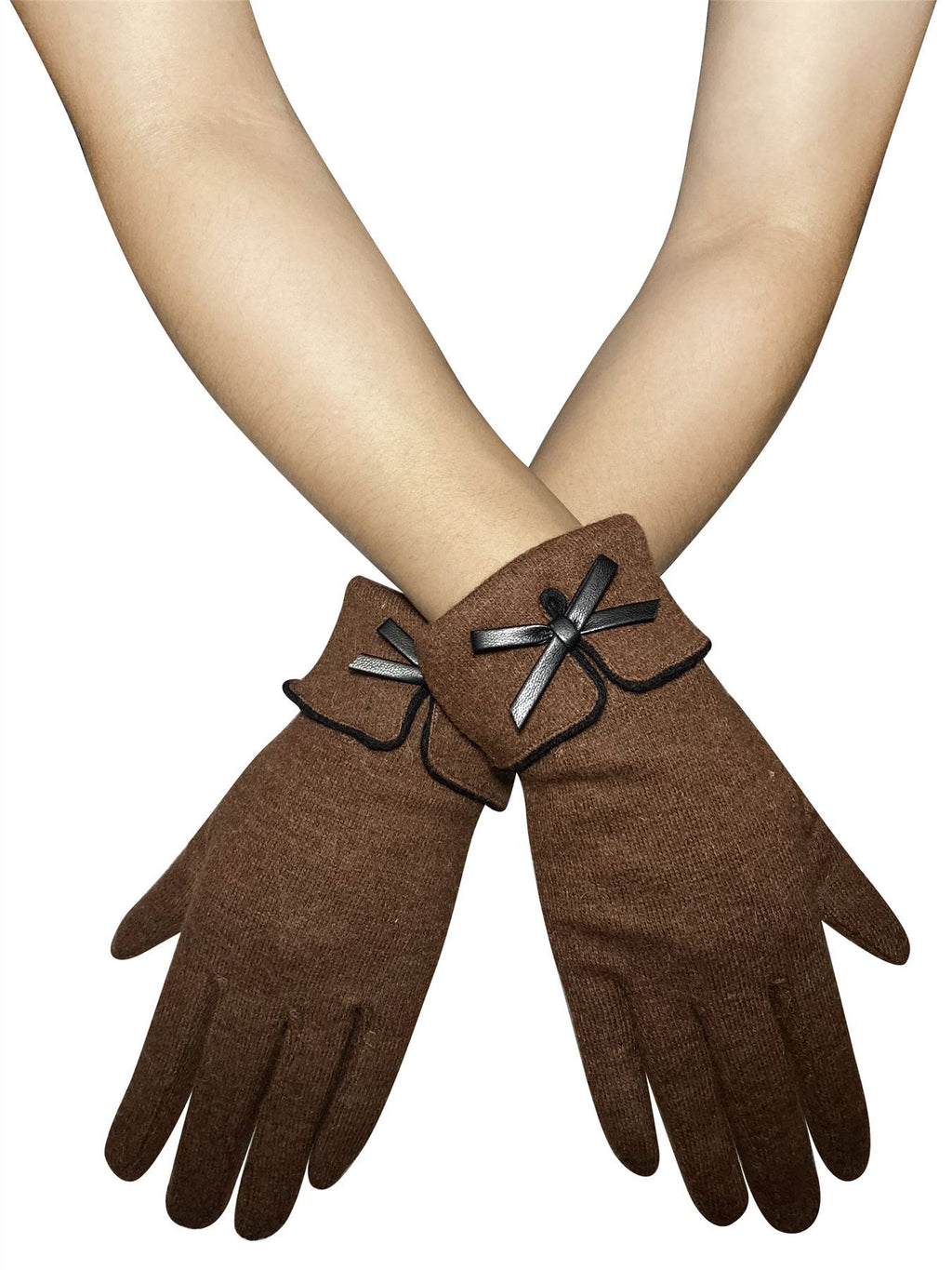 Preppy Style Bow Touchscreen Gloves Brown - The Tulip Tree Chiddingstone