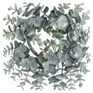Small Frosted Eucalyptus Candle Wreath - The Tulip Tree Chiddingstone