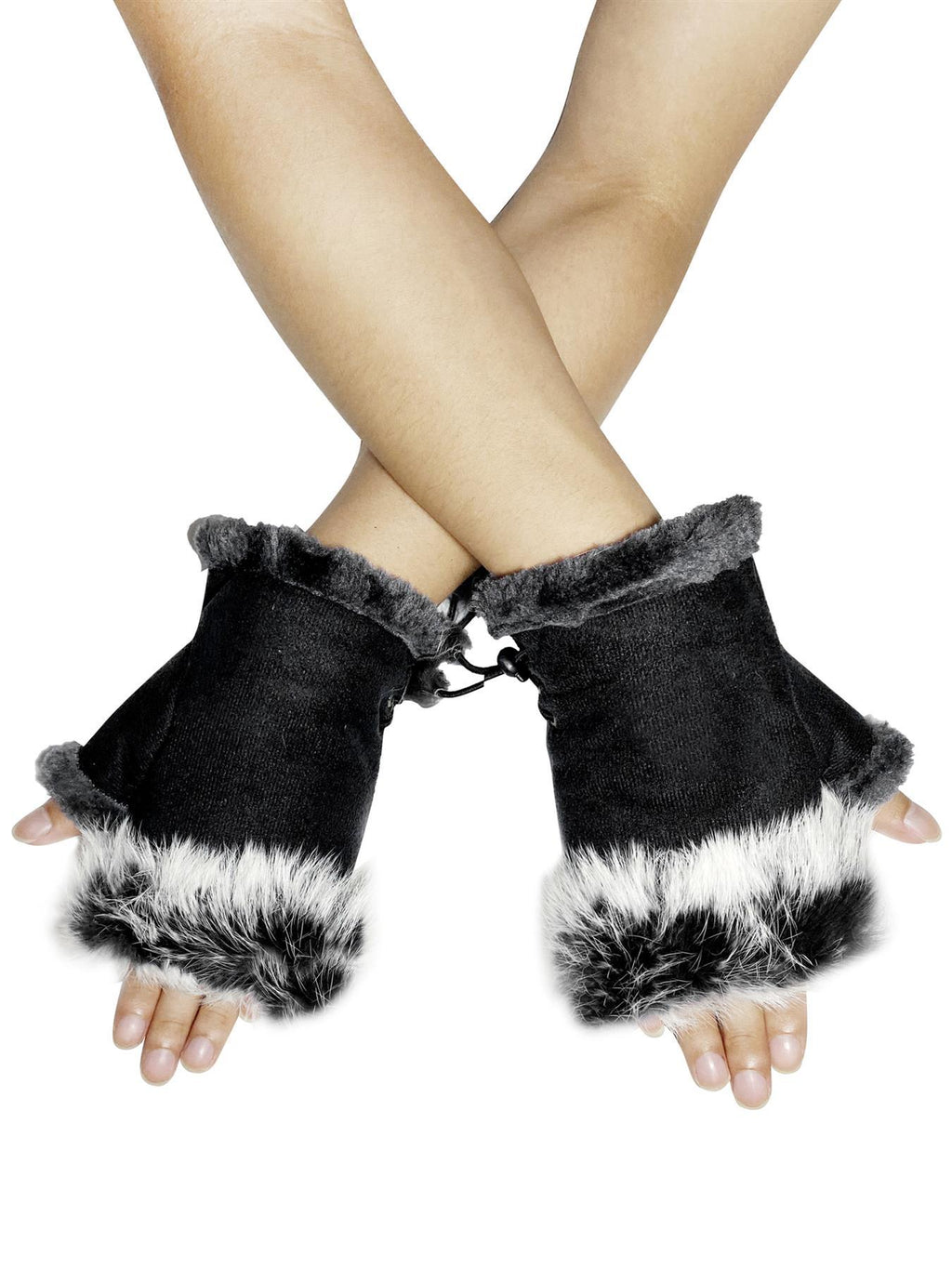 Plain Real Fur Fingerless Mittens Black - The Tulip Tree Chiddingstone