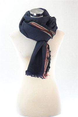 Contrasting Trim Frayed Pashmina Scarf Navy Blue - The Tulip Tree Chiddingstone