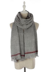 Stitched Edge Frayed Scarf Grey - The Tulip Tree Chiddingstone