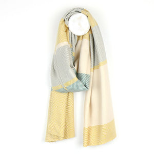 Soft pastel yellow, teal and grey wide stripe scarf - The Tulip Tree Chiddingstone