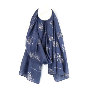 Blue-grey scarf with silver dandelion print - The Tulip Tree Chiddingstone