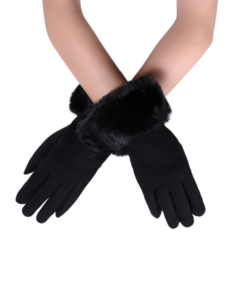 Faux Fur Trim Touchscreen Gloves Black - The Tulip Tree Chiddingstone