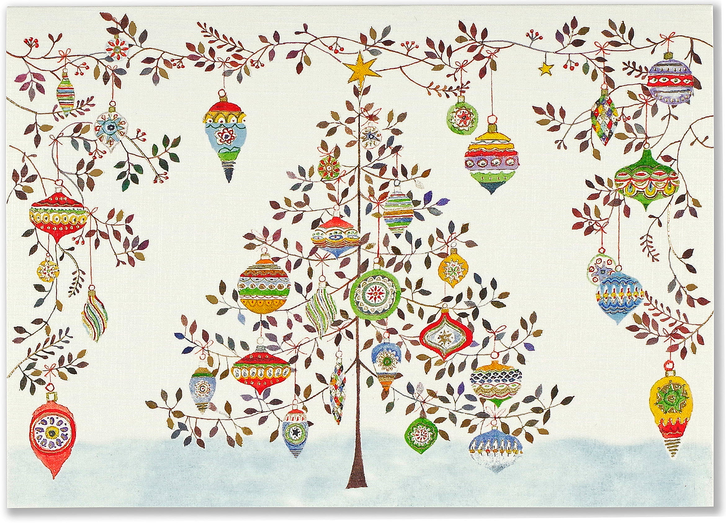 Watercolour Ornament Tree Deluxe Card Pack