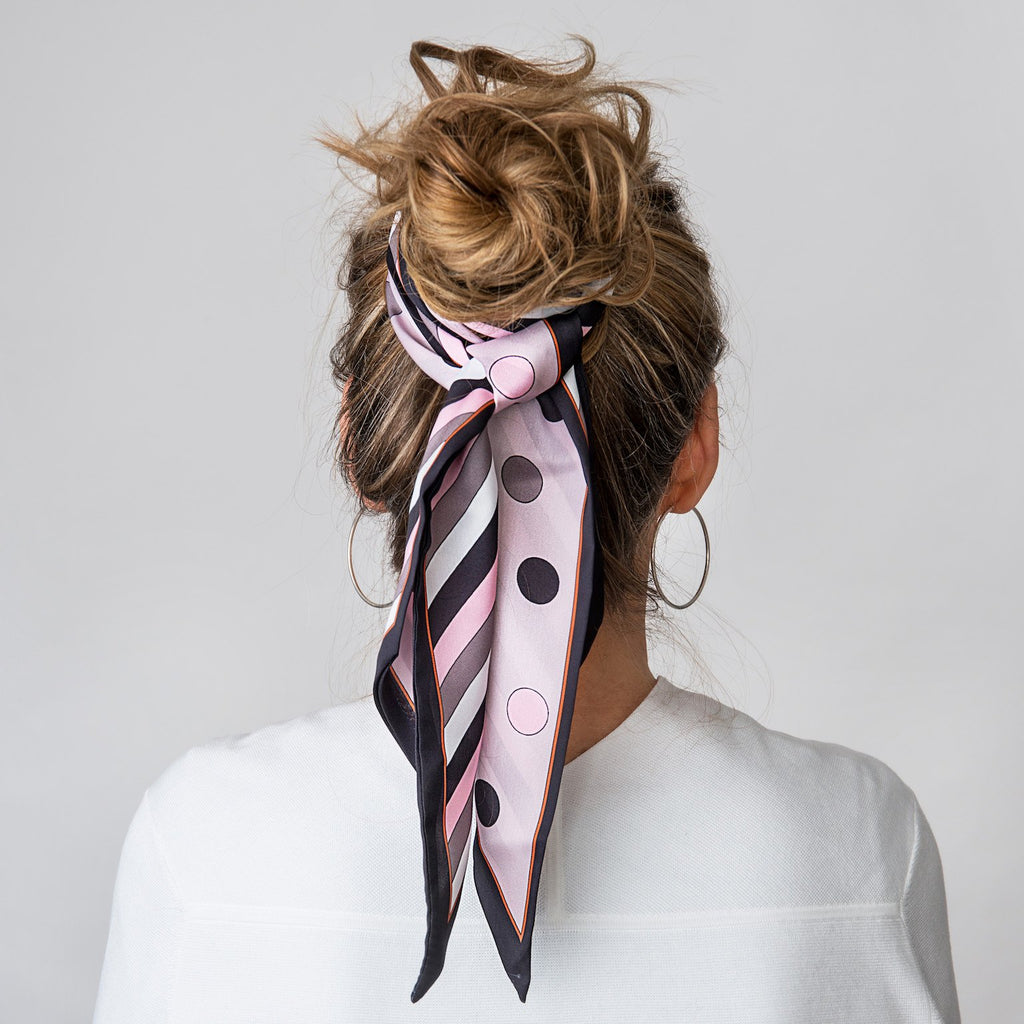 Dotty Pink/Black Scarf - The Tulip Tree Chiddingstone