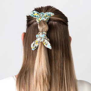 Hair Scrunchie Bow Green - The Tulip Tree Chiddingstone