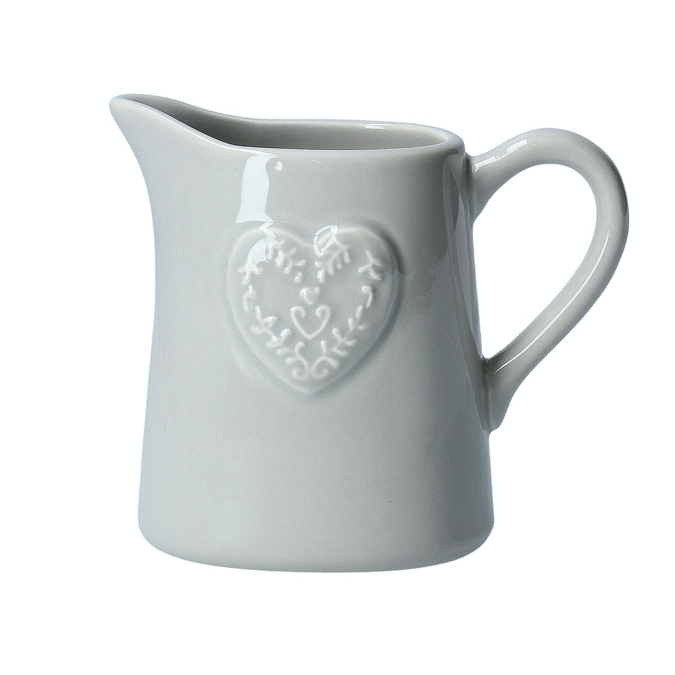 Grey Embossed Heart Ceramic Jug
