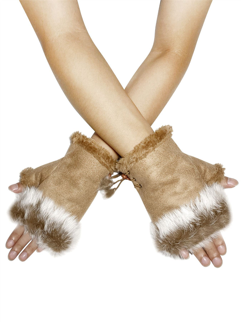 Plain Real Fur Fingerless Mittens Grey - The Tulip Tree Chiddingstone