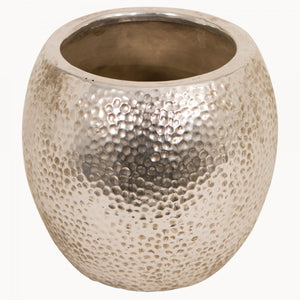 Hammered Planter in Silver Finish