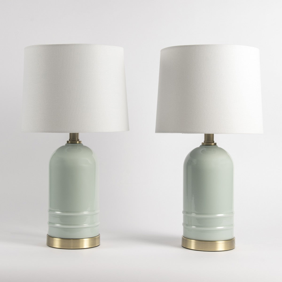 Blue Glass Lamps with White Shade