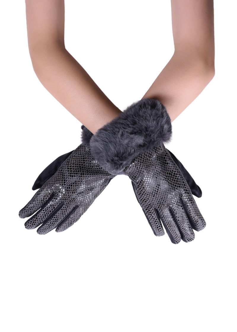 Faux Fur Trim & Snakeskin Print Touchscreen Gloves Grey - The Tulip Tree Chiddingstone