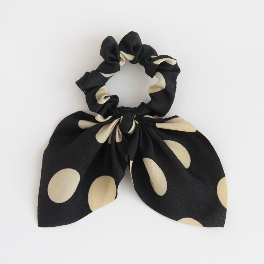 Black Spot Bow Hair Tie