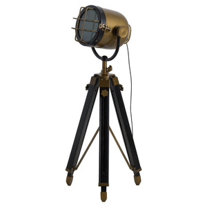 Brass And Black Industrial Spotlight Tripod Lamp-Hills Interior-Luxe Interior